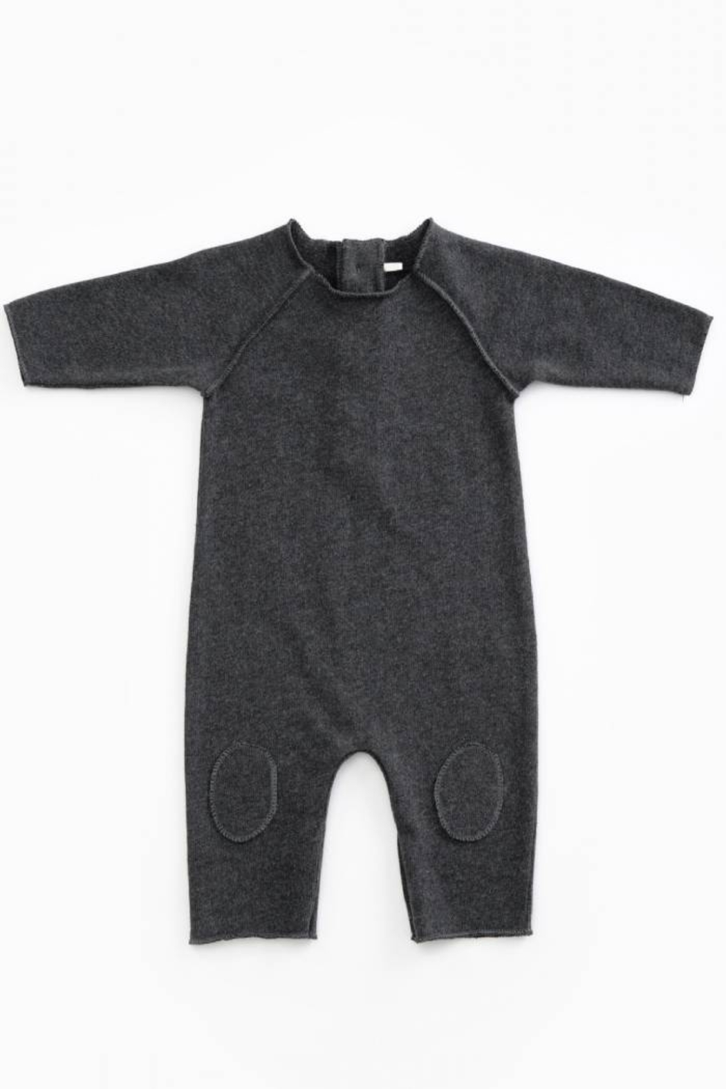 Play Up Mono Jersey Stitch Organic Cotton Baby Jumpsuit with knee Pads Woodwork - Front Cropped Image