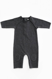 Play Up Mono Jersey Stitch Organic Cotton Baby Jumpsuit with knee Pads Woodwork - Front cropped