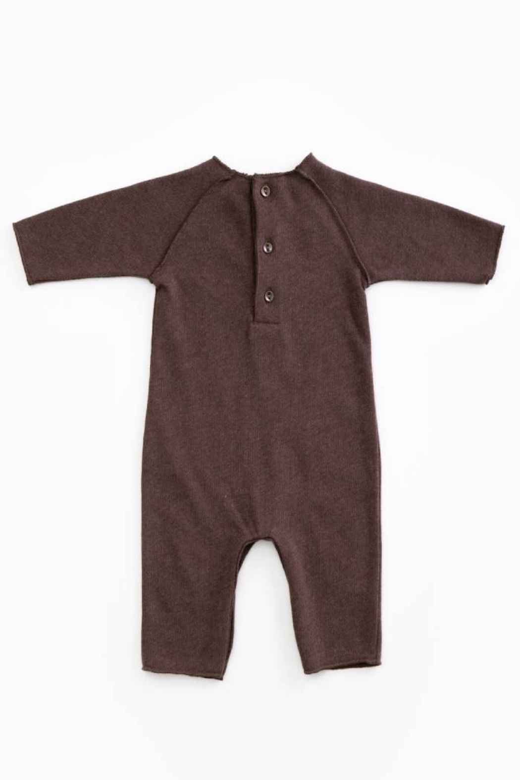 Play Up Mono Jersey Stitch Organic Cotton Baby Jumpsuit with knee Pads Woodwork - Front Full Image