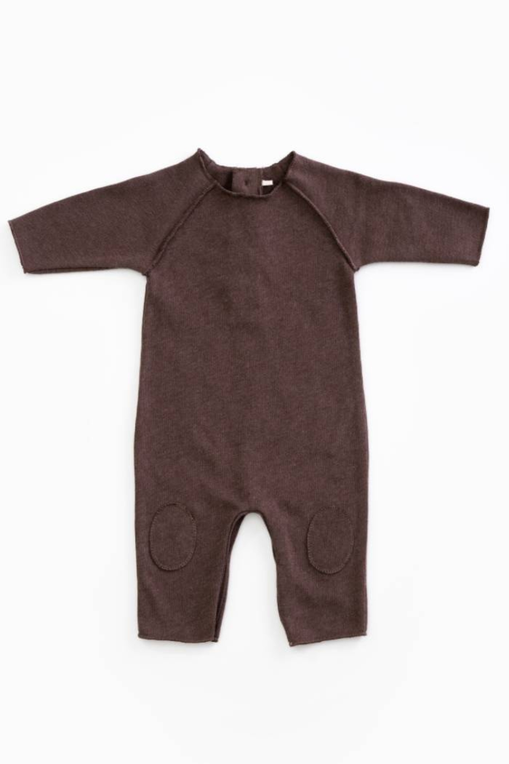Play Up Mono Jersey Stitch Organic Cotton Baby Jumpsuit with knee Pads Woodwork - Main Image