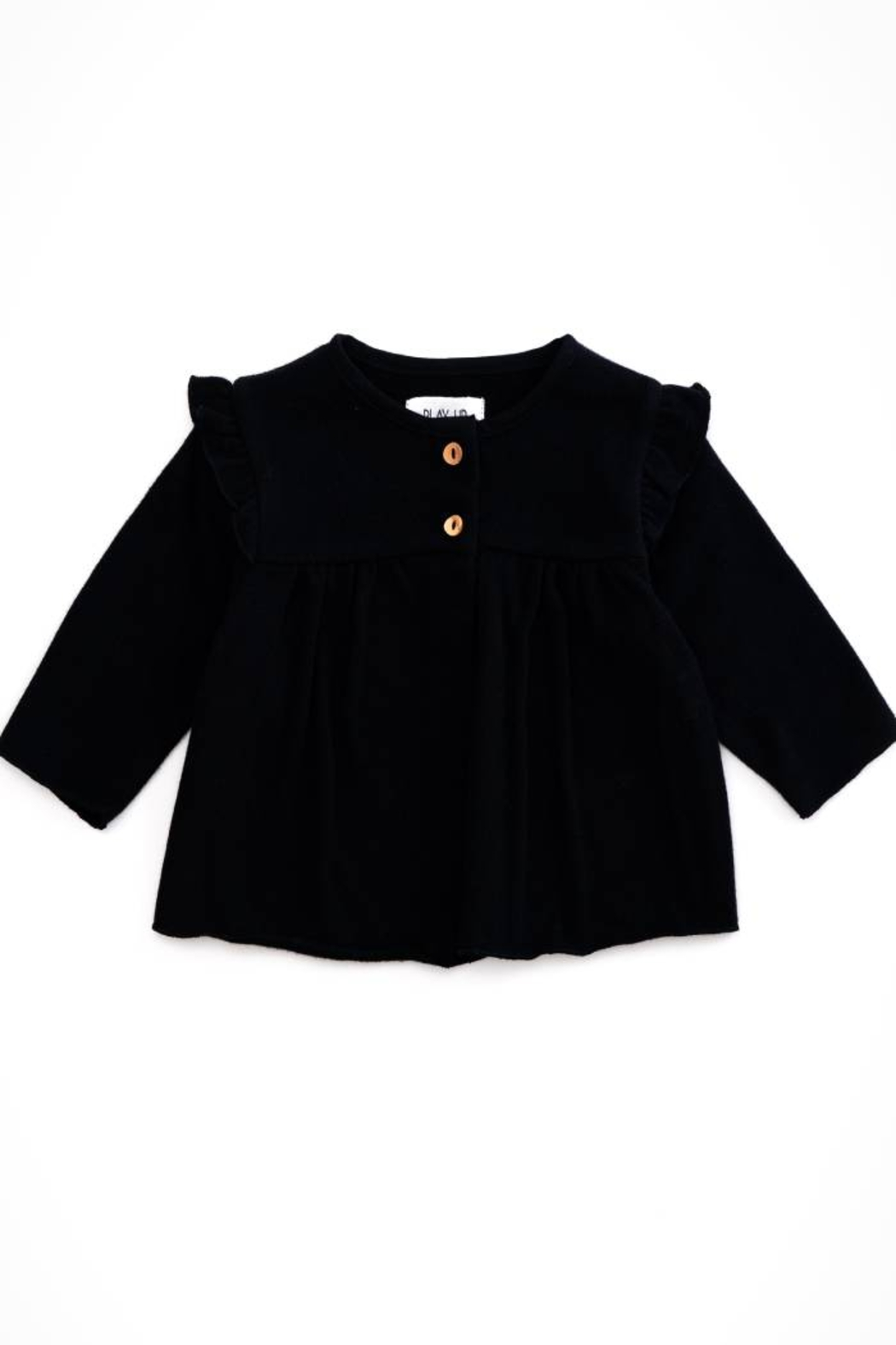 Play Up Organic Cotton Fleece Sweater two botton Jacket for Girls - Front Cropped Image