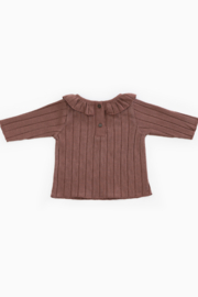 Play Up Organic Cotton Rib T-Shirt with Frill for Baby Girls - Front full body