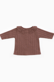 Play Up Organic Cotton Rib T-Shirt with Frill for Baby Girls - Product Mini Image