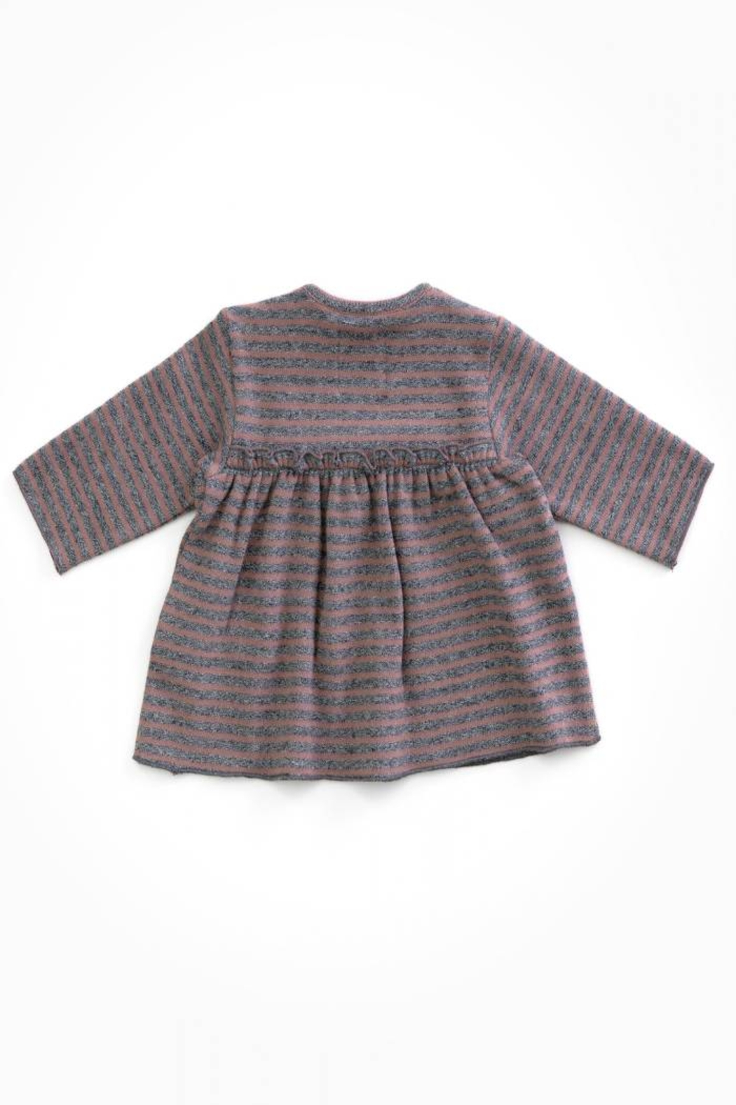 Play Up Organic Cotton Striped Jersey with opening on the Shoulder - Front Full Image
