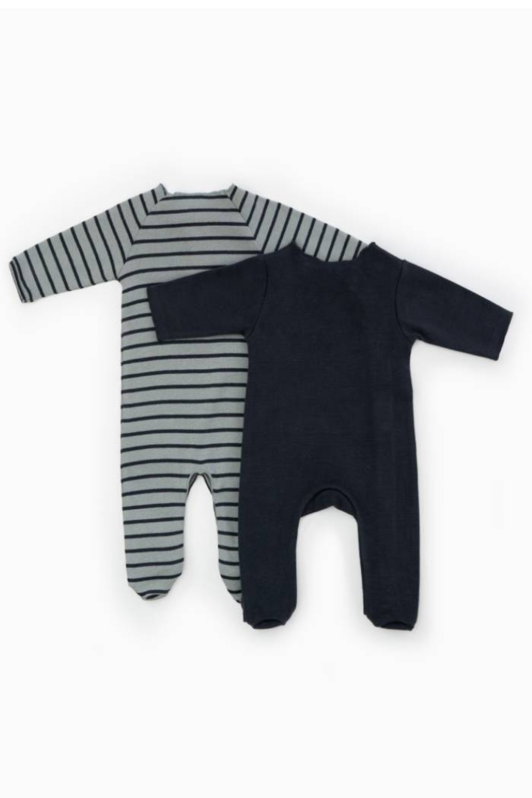 Play Up Organic Cotton Stripped Ribbed Baby Grow Set Footie (Pack of 2) - Front Full Image
