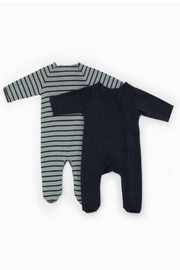 Play Up Organic Cotton Stripped Ribbed Baby Grow Set Footie (Pack of 2) - Front full body