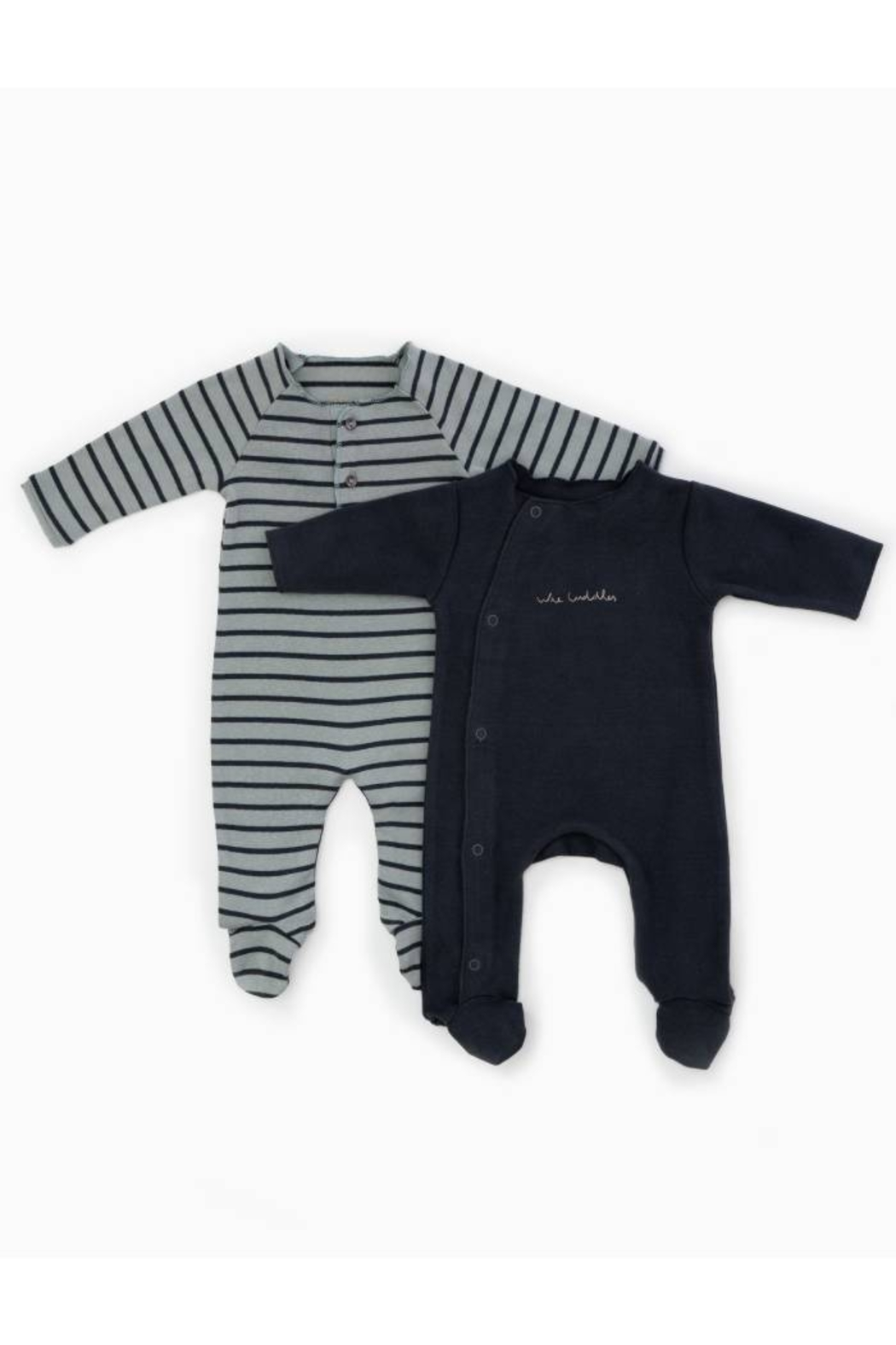 Play Up Organic Cotton Stripped Ribbed Baby Grow Set Footie (Pack of 2) - Main Image