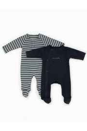 Play Up Organic Cotton Stripped Ribbed Baby Grow Set Footie (Pack of 2) - Product Mini Image
