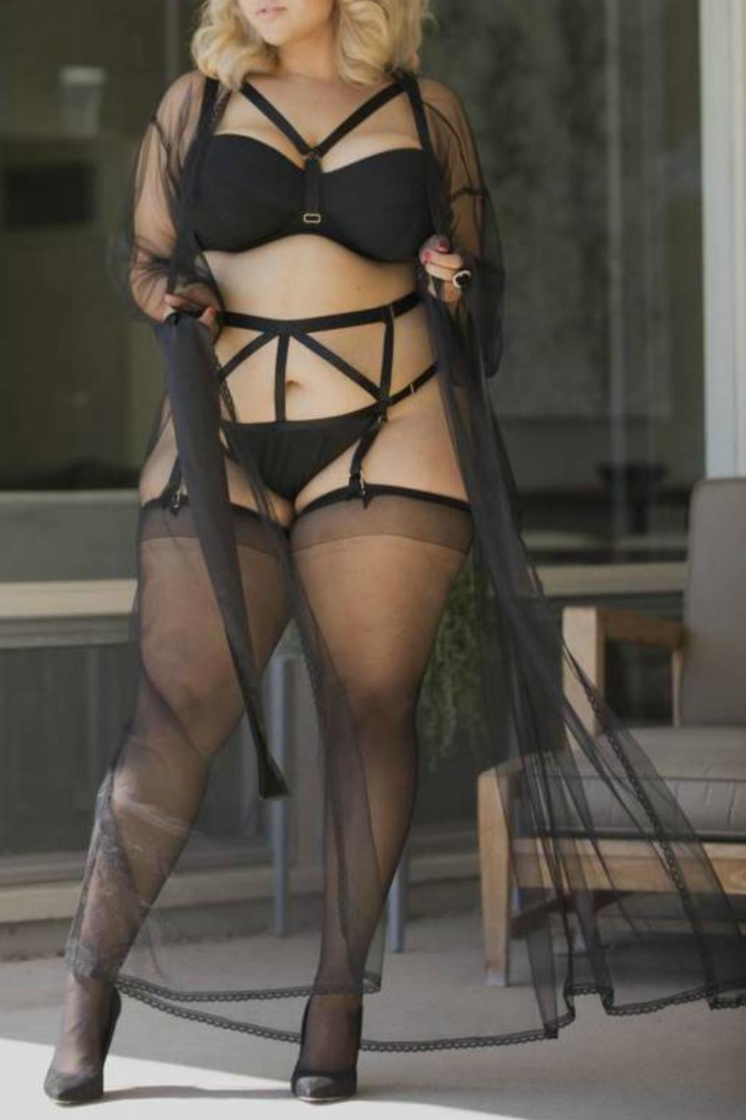 Playful Promises Sheer Tulle Robe - Front Full Image