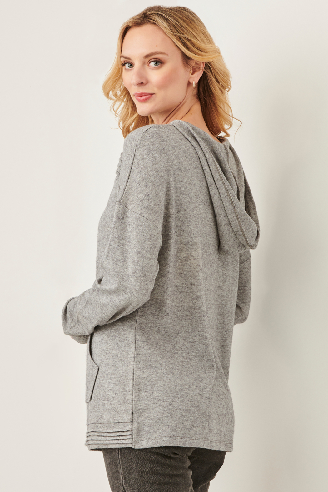 Charlie Paige Pleat Hoody Sweater - Front Full Image