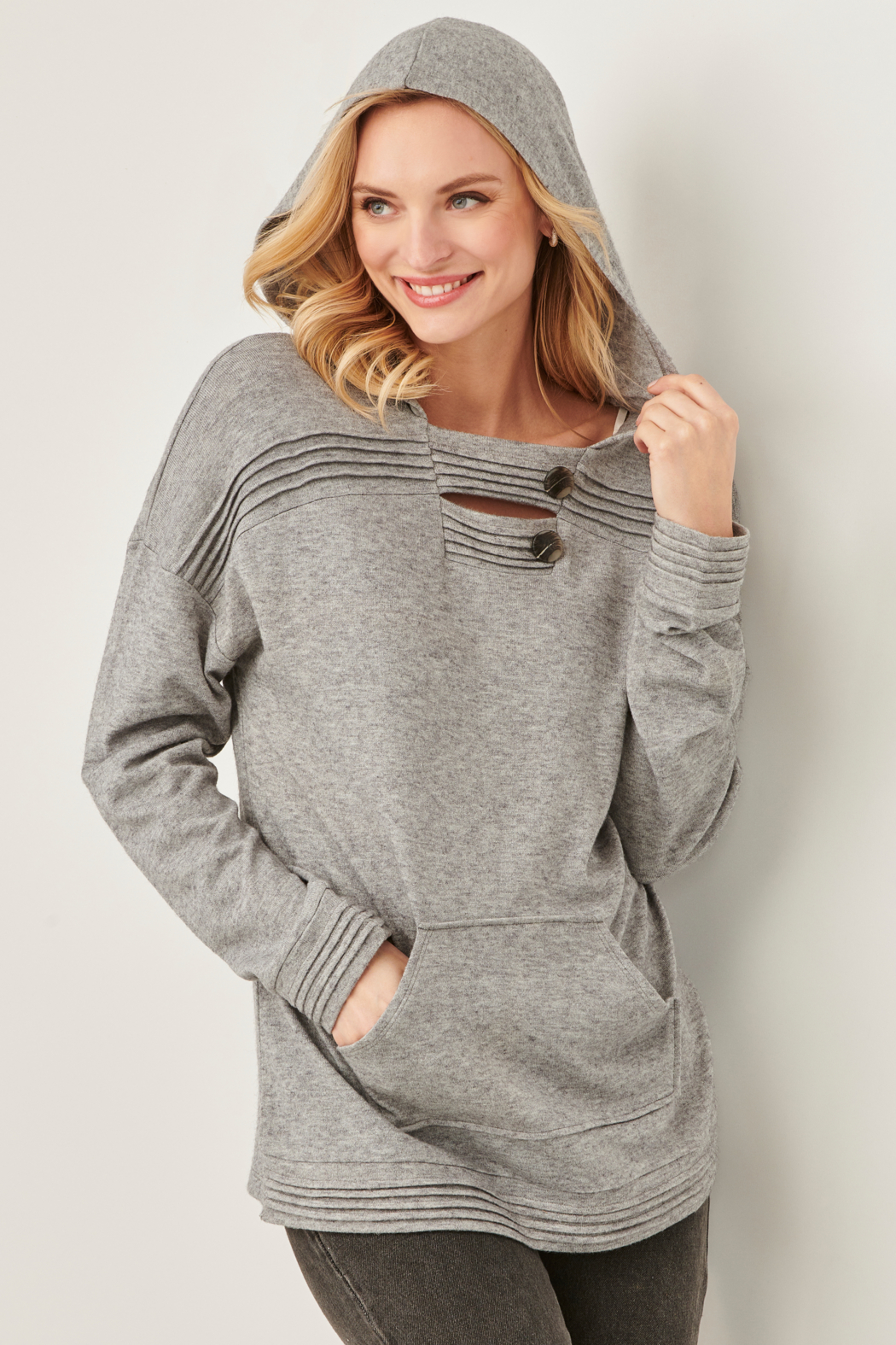Charlie Paige Pleat Hoody Sweater - Front Cropped Image