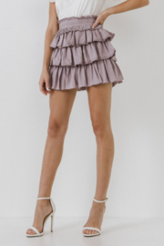 FREE THE ROSES Pleat Waist Ruffle Skirt - Back cropped