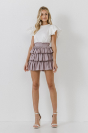 FREE THE ROSES Pleat Waist Ruffle Skirt - Other
