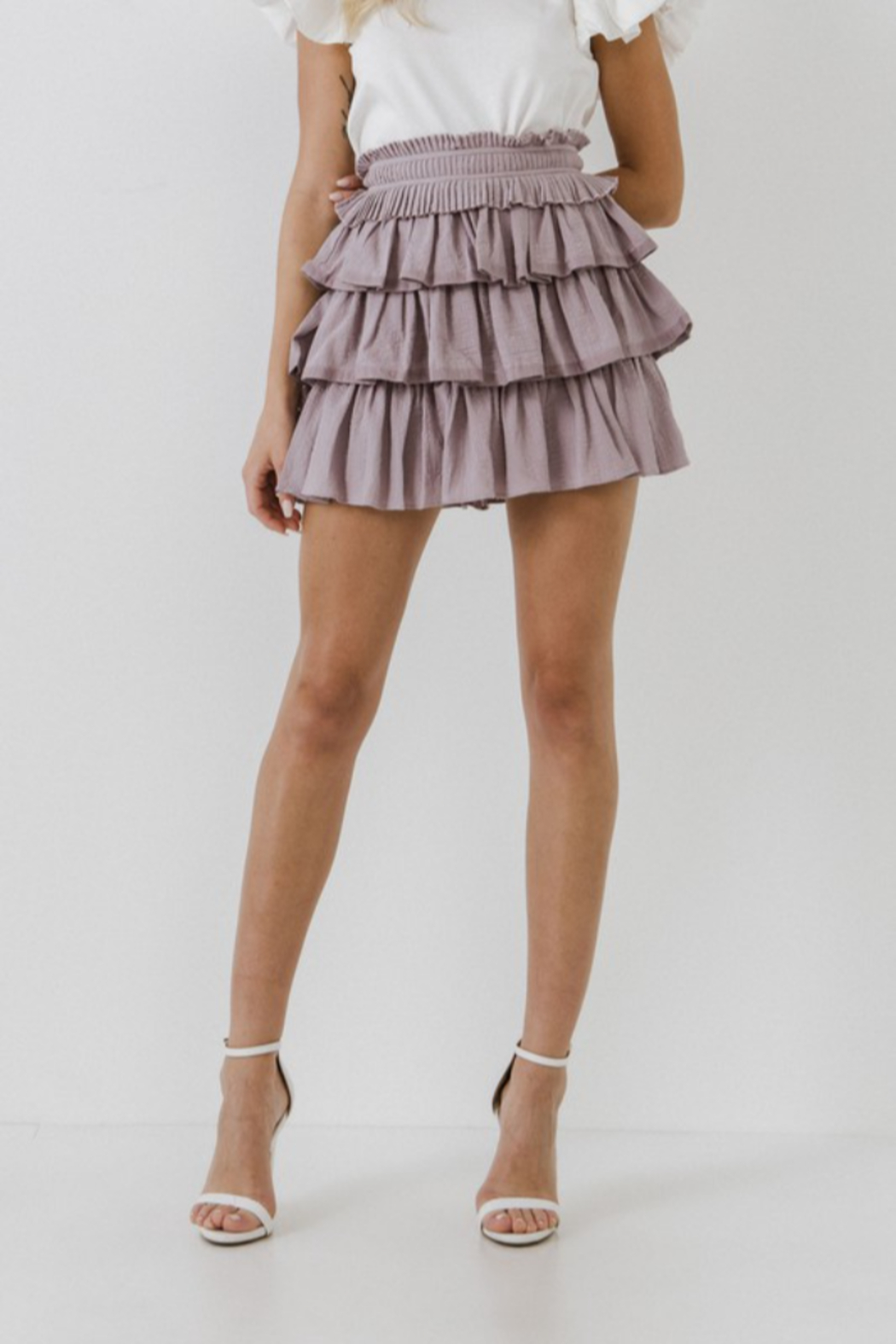 FREE THE ROSES Pleat Waist Ruffle Skirt - Side Cropped Image