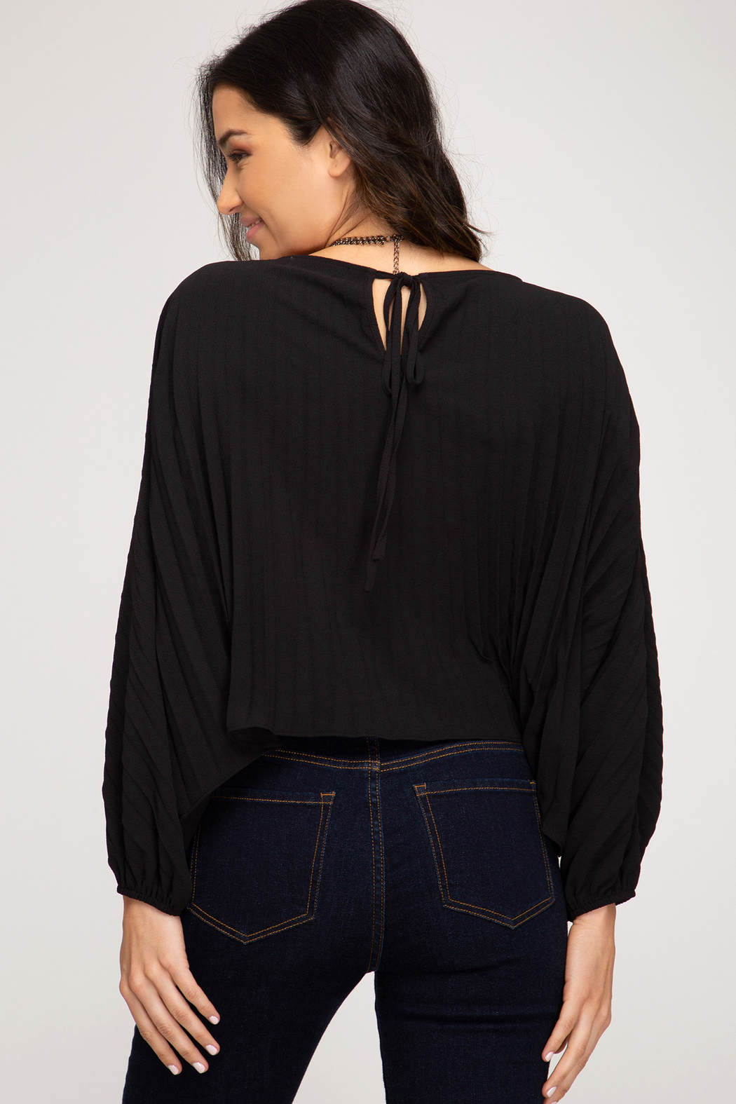 She + Sky Pleated Back Tie Top - Front Full Image
