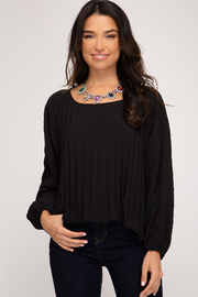 She + Sky Pleated Back Tie Top - Product Mini Image