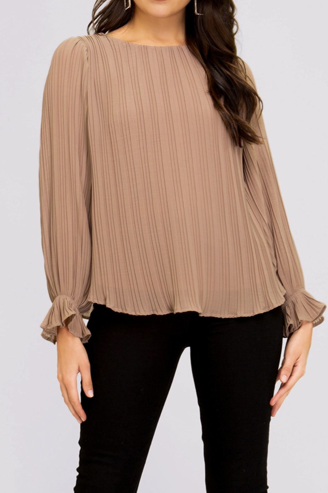 She and Sky Pleated Blouse - Main Image