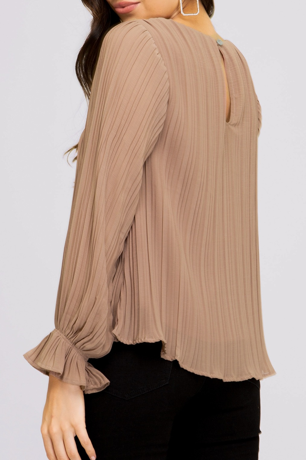 She and Sky Pleated Blouse - Front Full Image