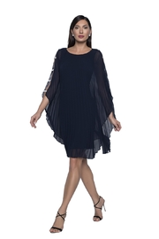 Frank Lyman Pleated Cape Dress, Midnight - Product Mini Image