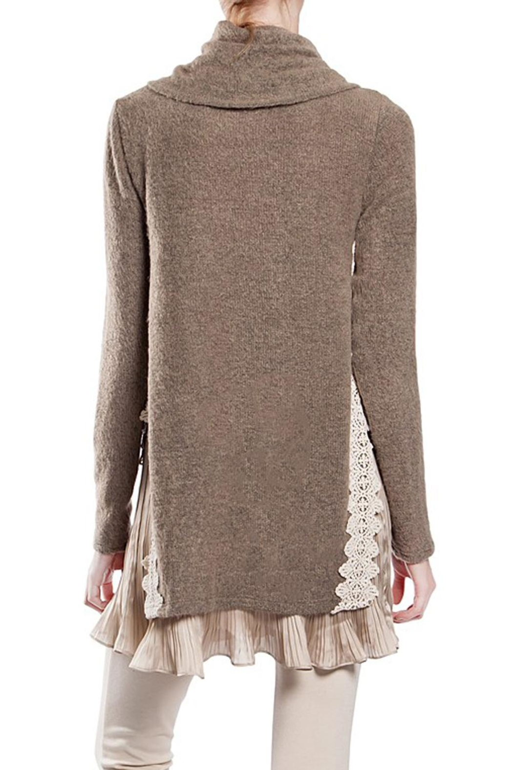 The Vintage Valet Pleated Cownneck Sweater - Front Full Image