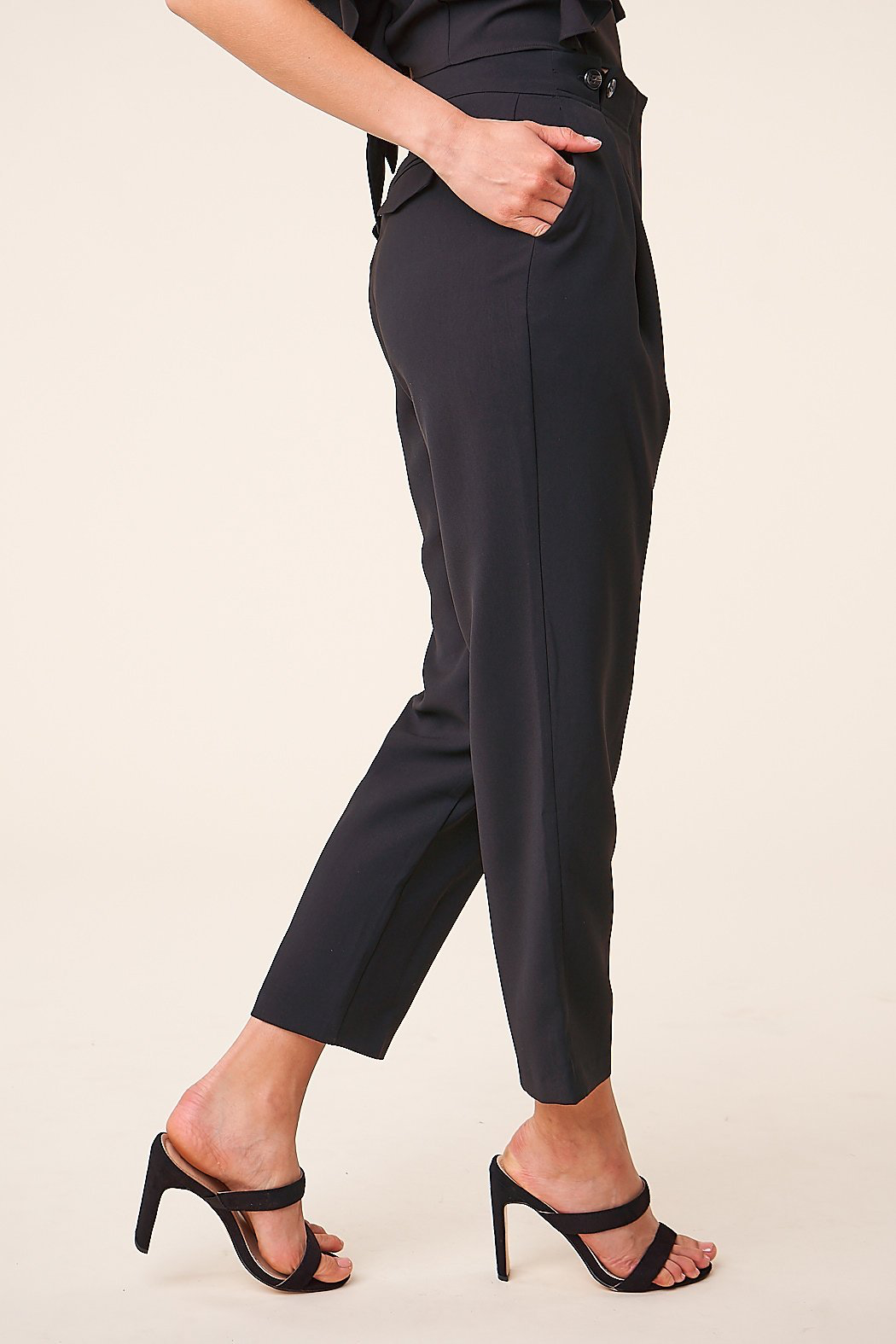 Sugarlips Pleated Cropped Trousers - Front Full Image