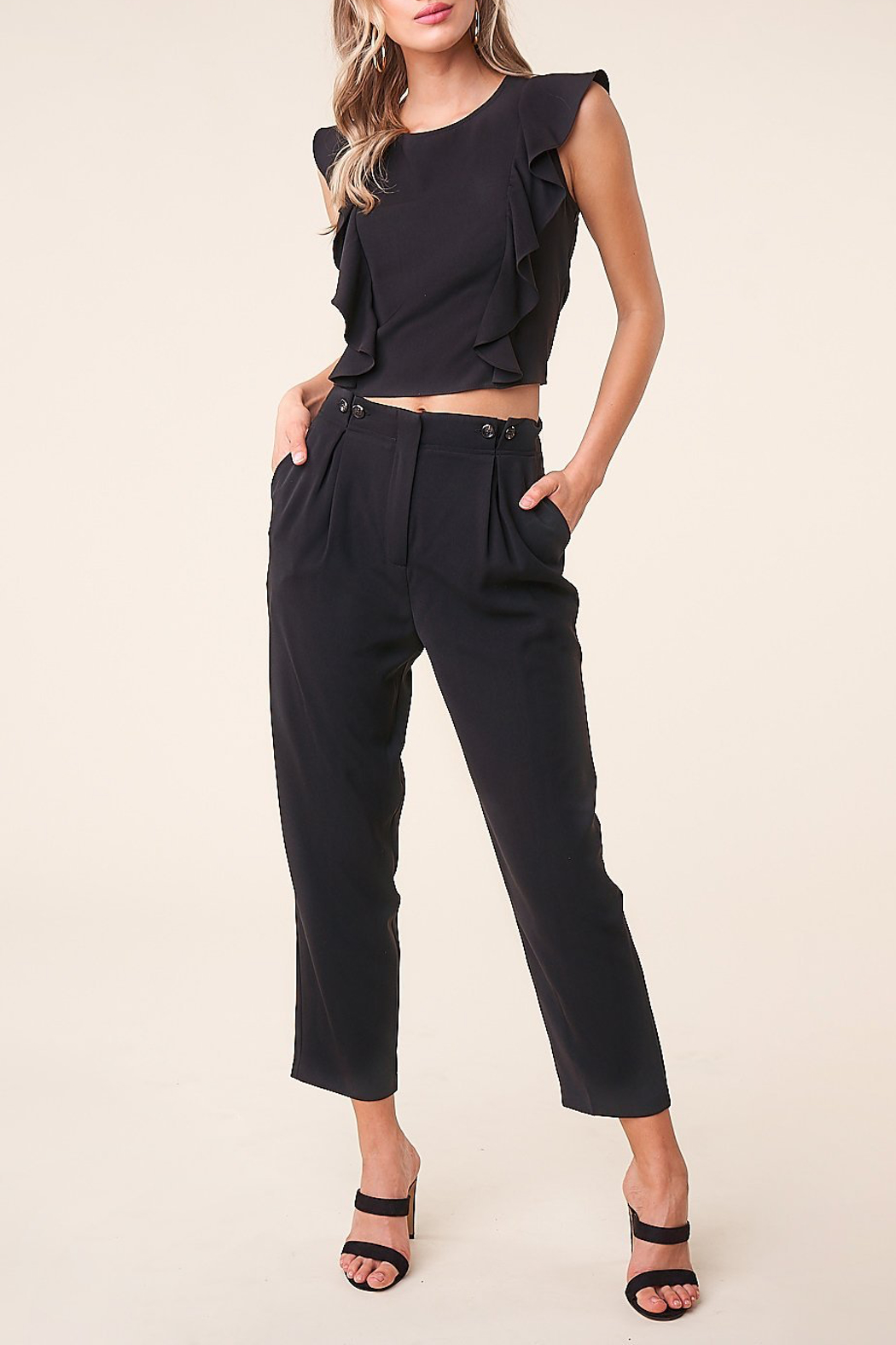 Sugarlips Pleated Cropped Trousers - Main Image