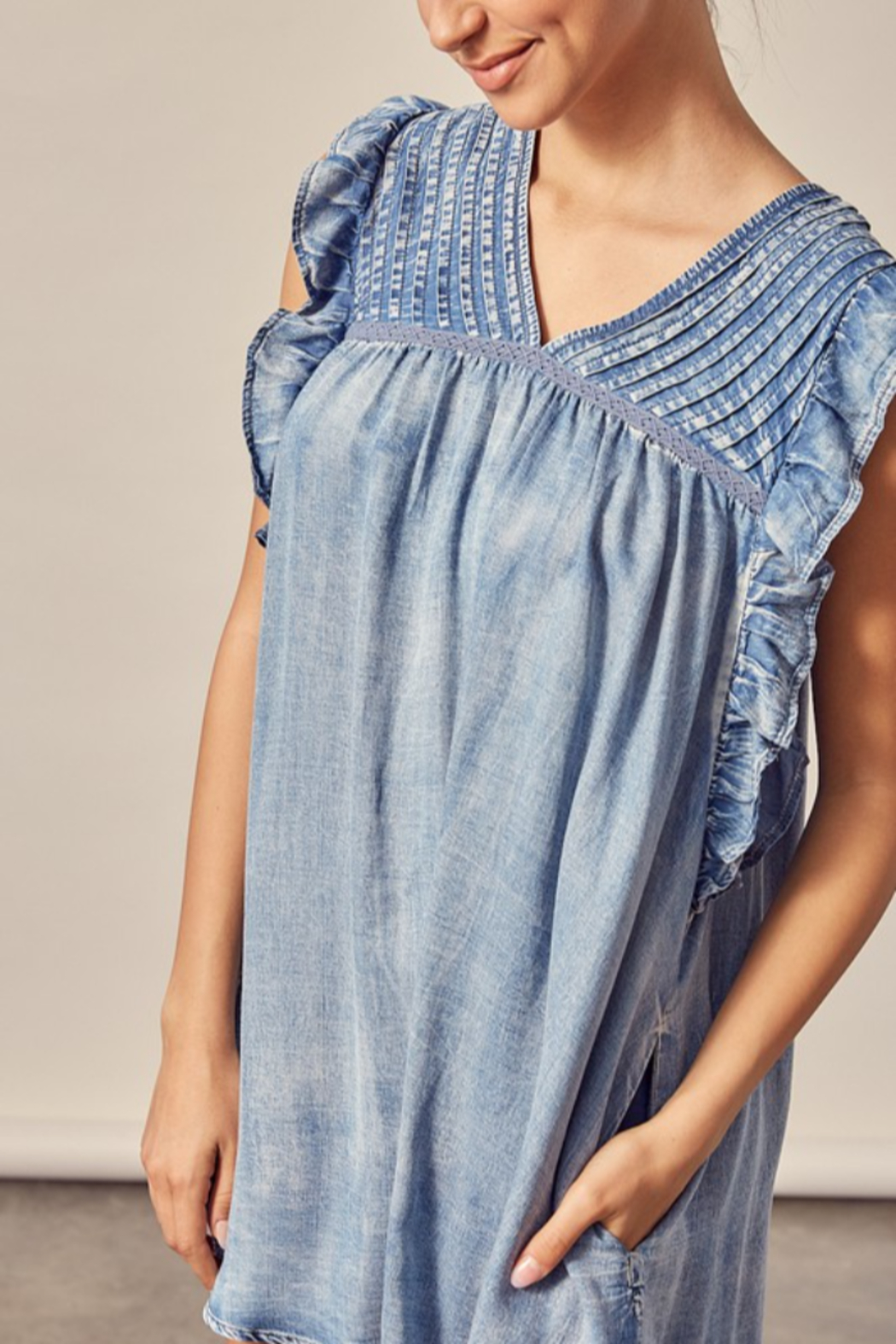 Mustard Seed  Pleated Denim Dress - Back Cropped Image