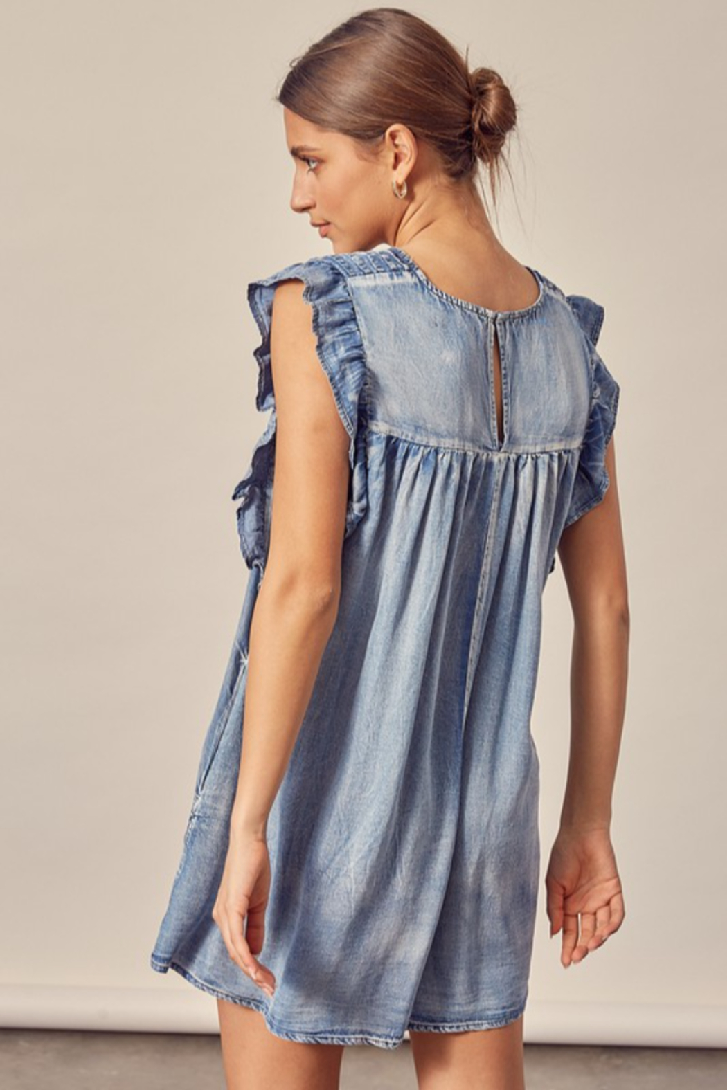 Mustard Seed  Pleated Denim Dress - Side Cropped Image