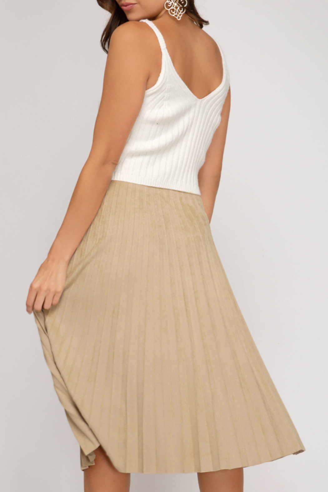She+Sky Pleated Faux Suede Skirt - Front Full Image