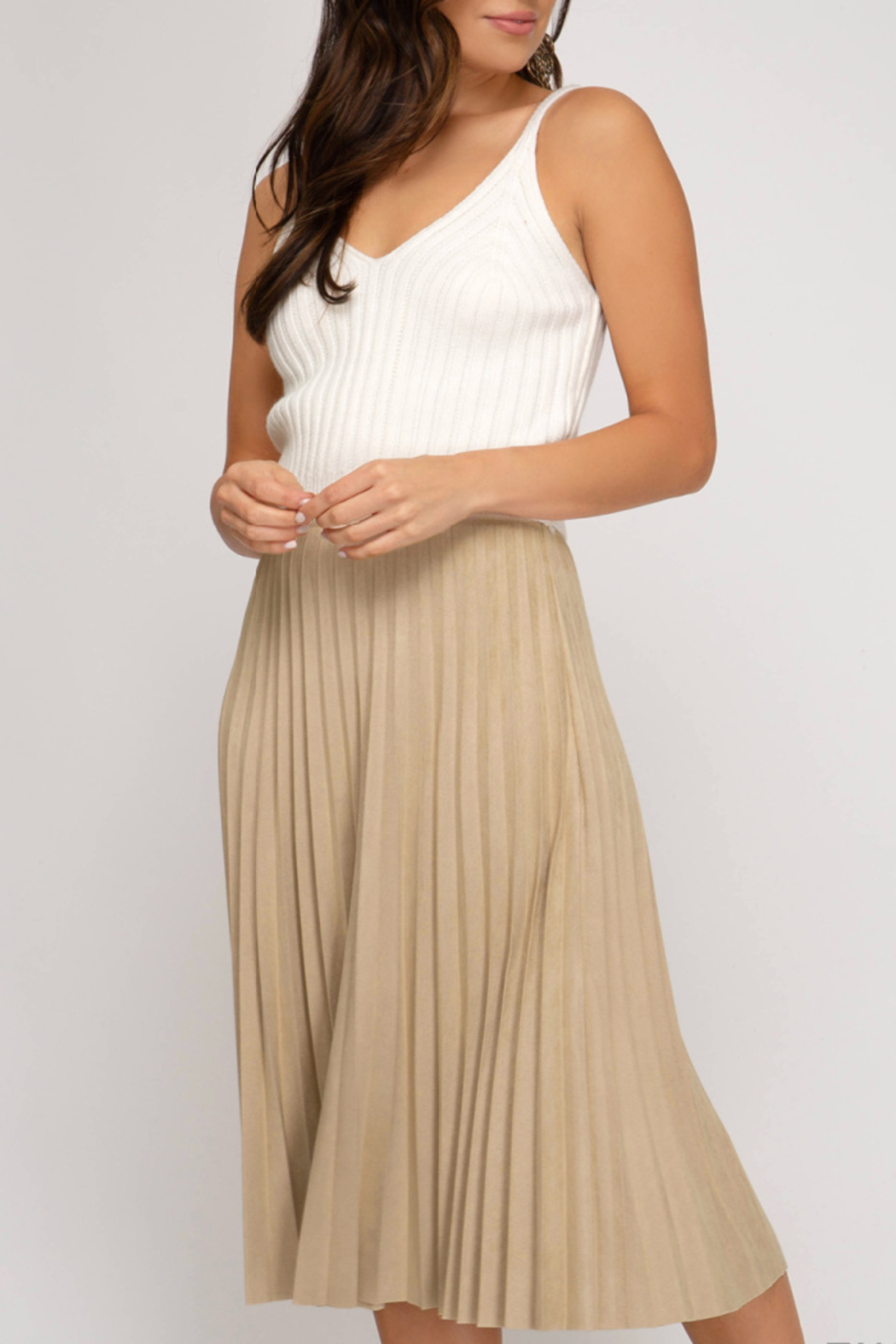 She+Sky Pleated Faux Suede Skirt - Front Cropped Image