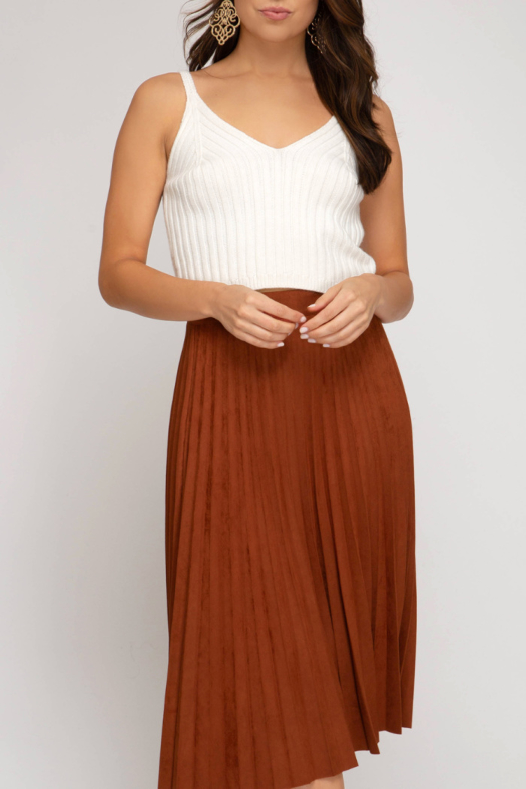 She+Sky Pleated Faux Suede Skirt - Main Image