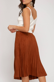 She+Sky Pleated Faux Suede Skirt - Front full body