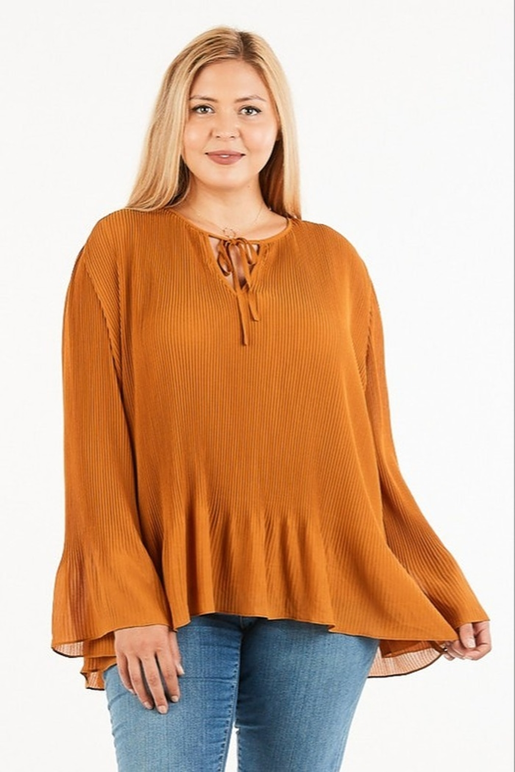 Very J Pleated Flare Blouse - Main Image