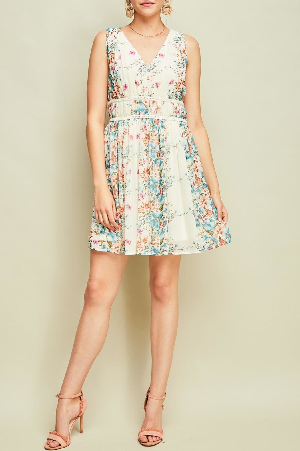 Entro Pleated Floral Dress - Main Image