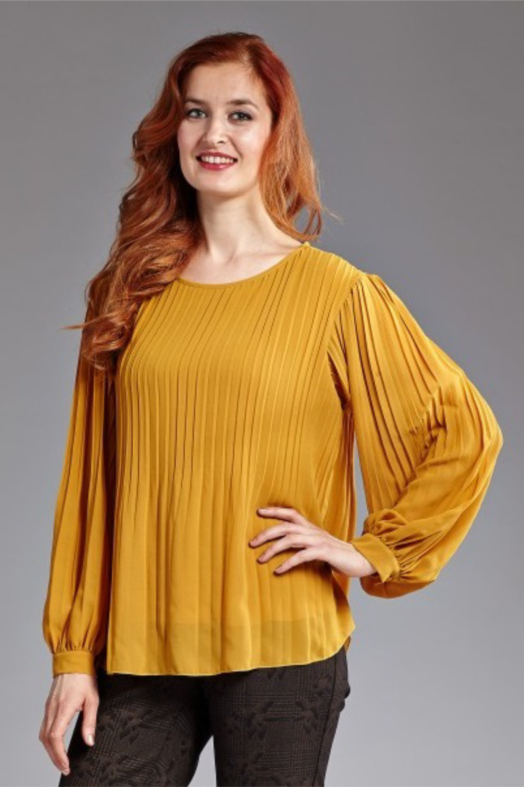 INSIGHT NYC Pleated Georgette Blouse - Main Image