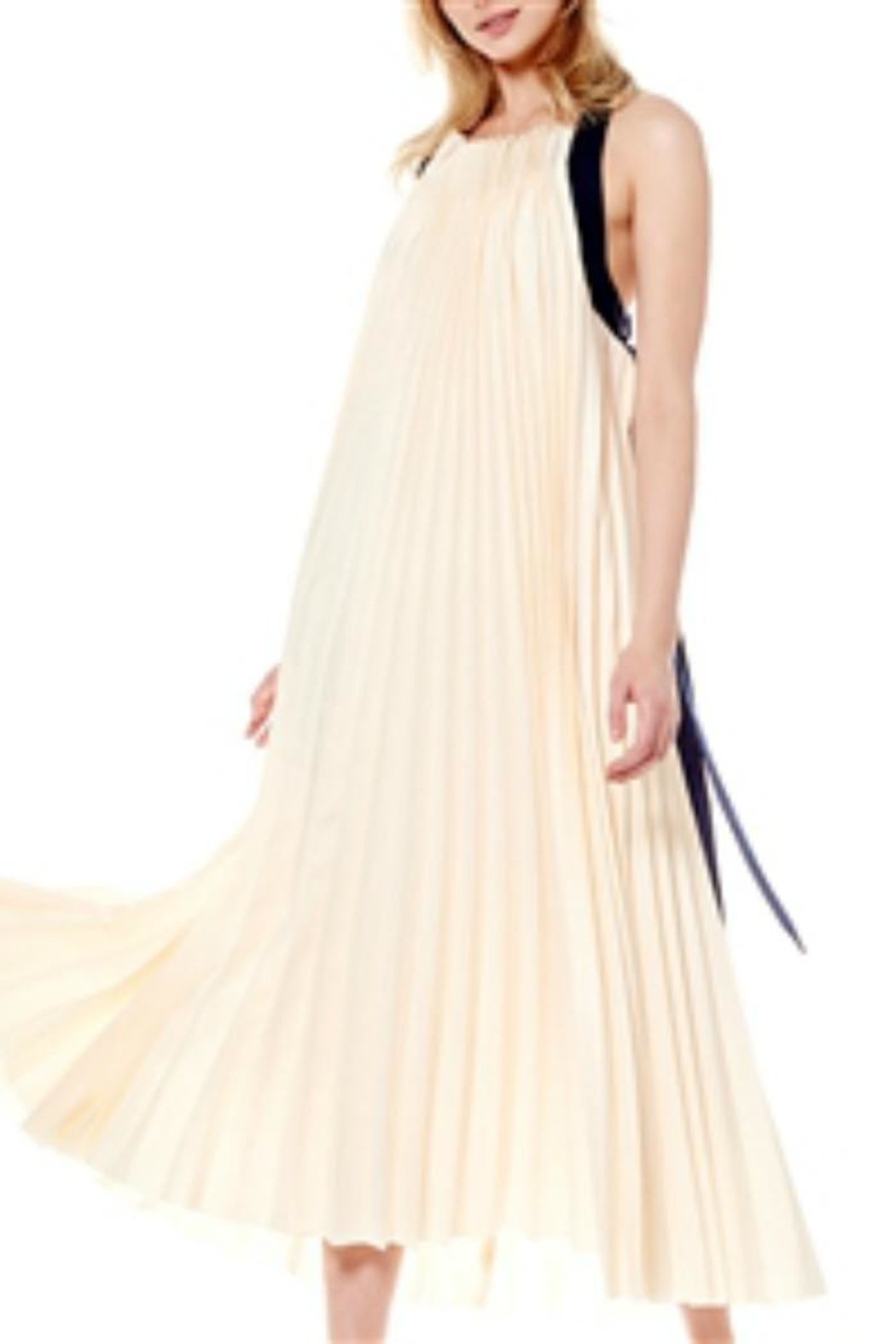 Gracia Pleated Halter Dress - Front Full Image