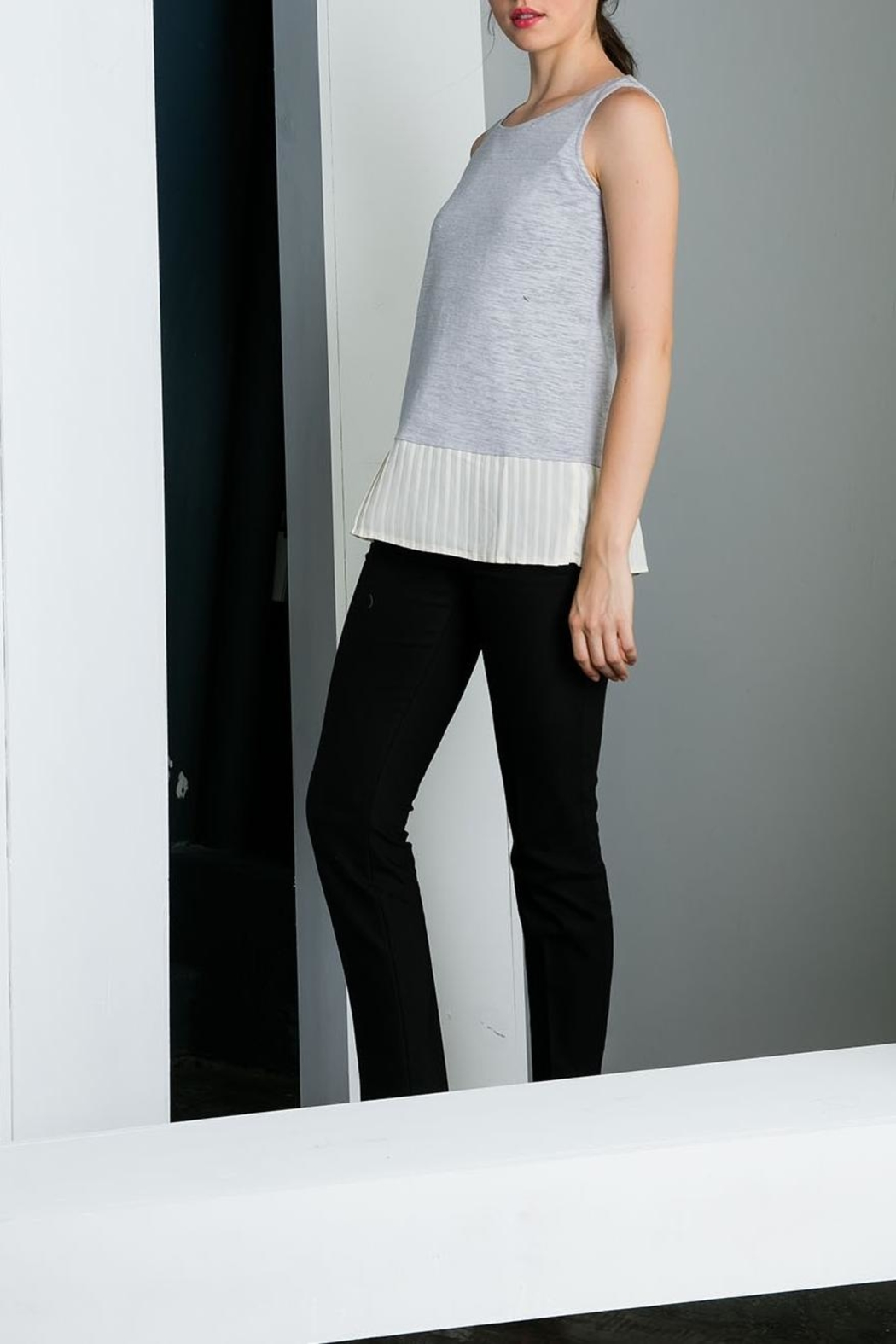 THML Clothing Pleated Hem Tank - Front Cropped Image