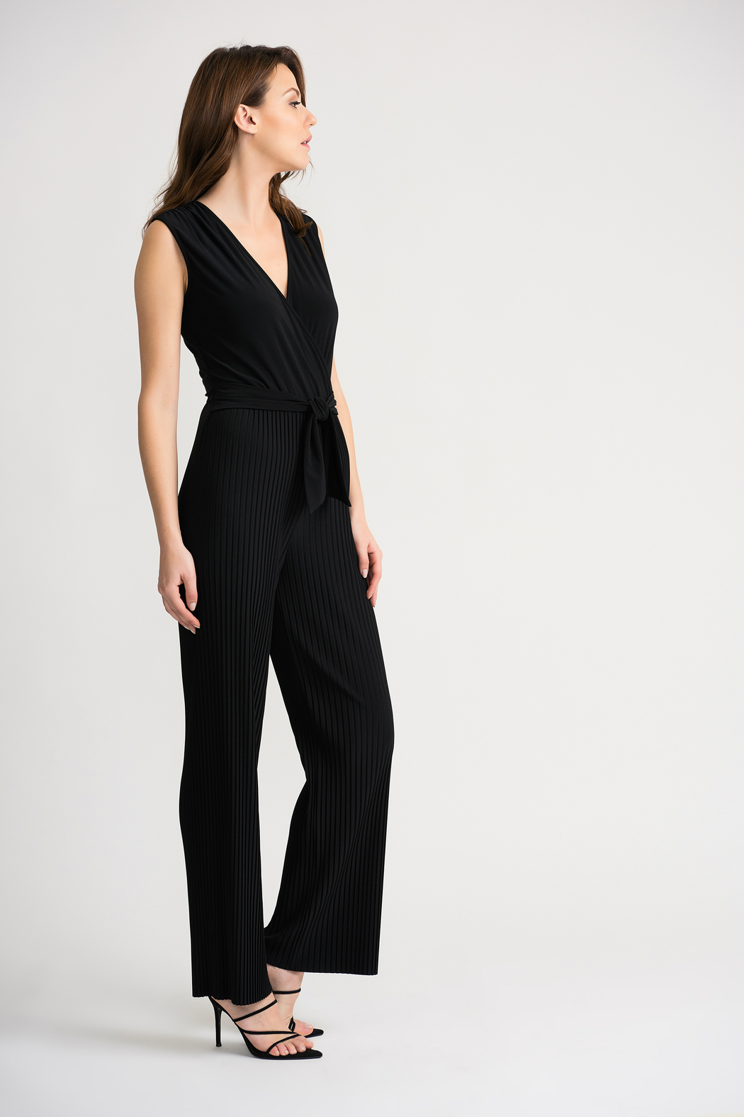 Joseph Ribkoff USA Inc. Pleated Jumpsuit w attached belt - Front Full Image