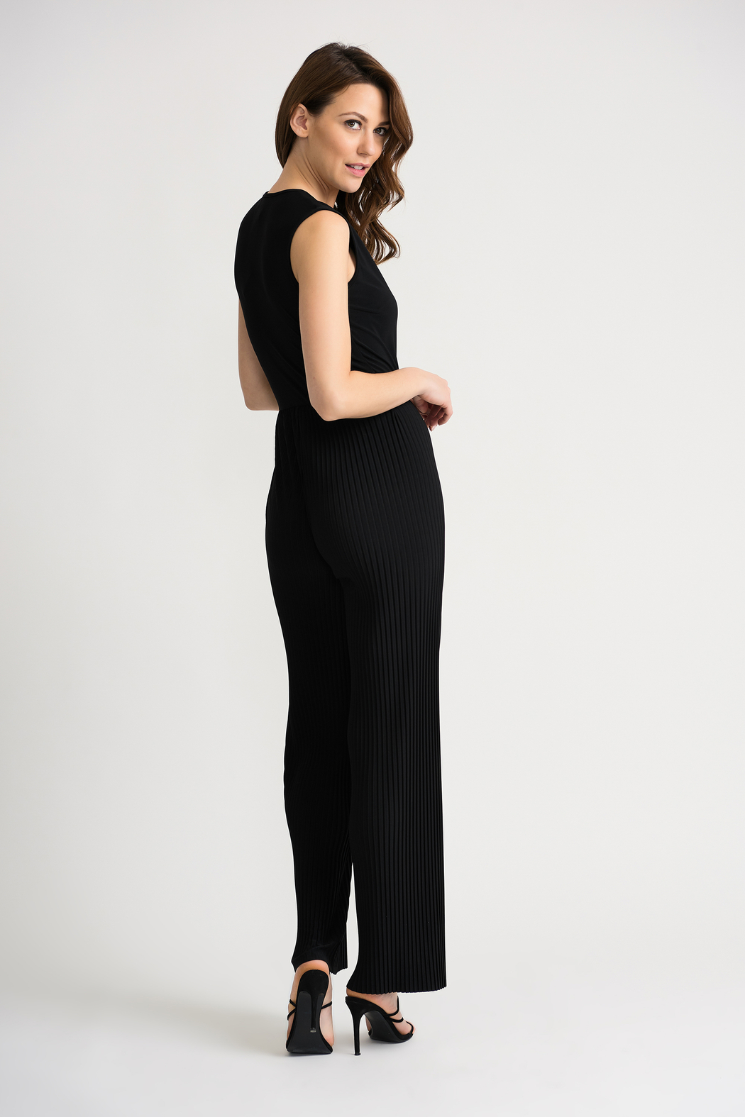 Joseph Ribkoff USA Inc. Pleated Jumpsuit w attached belt - Side Cropped Image