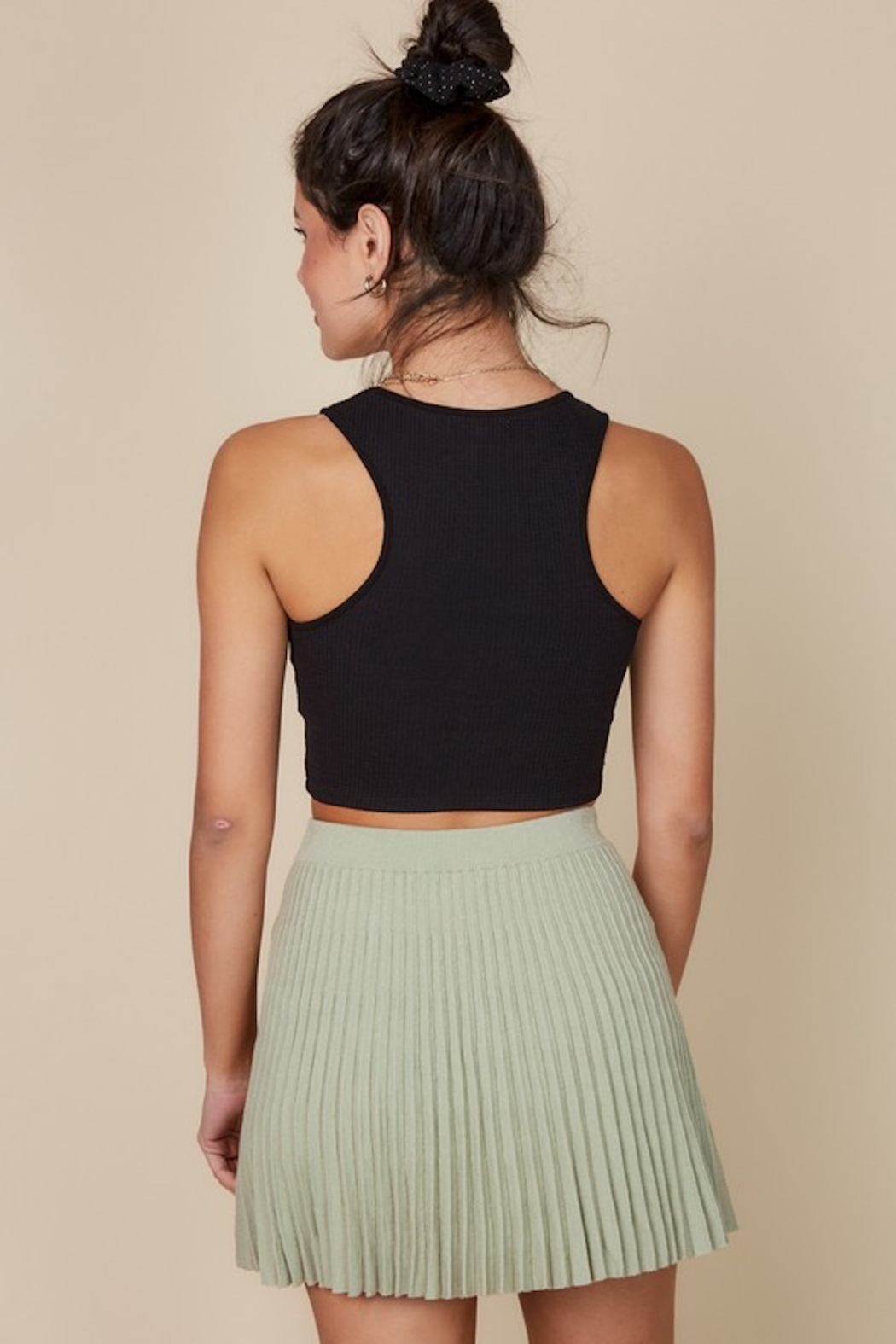 blue blush Pleated Knit Skirt - Side Cropped Image