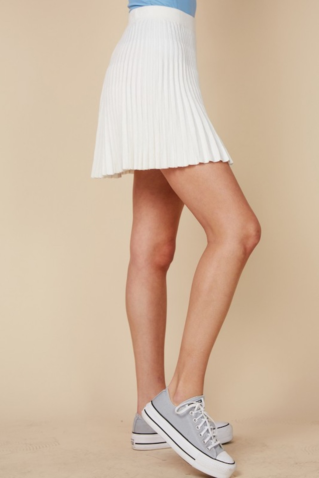 blue blush Pleated Knit Skirt - Front Full Image
