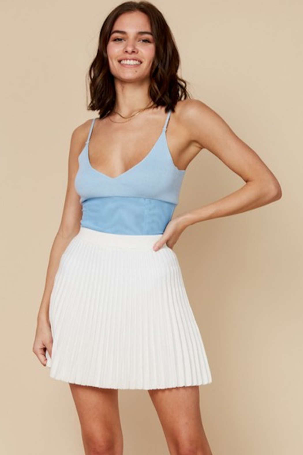 blue blush Pleated Knit Skirt - Front Cropped Image