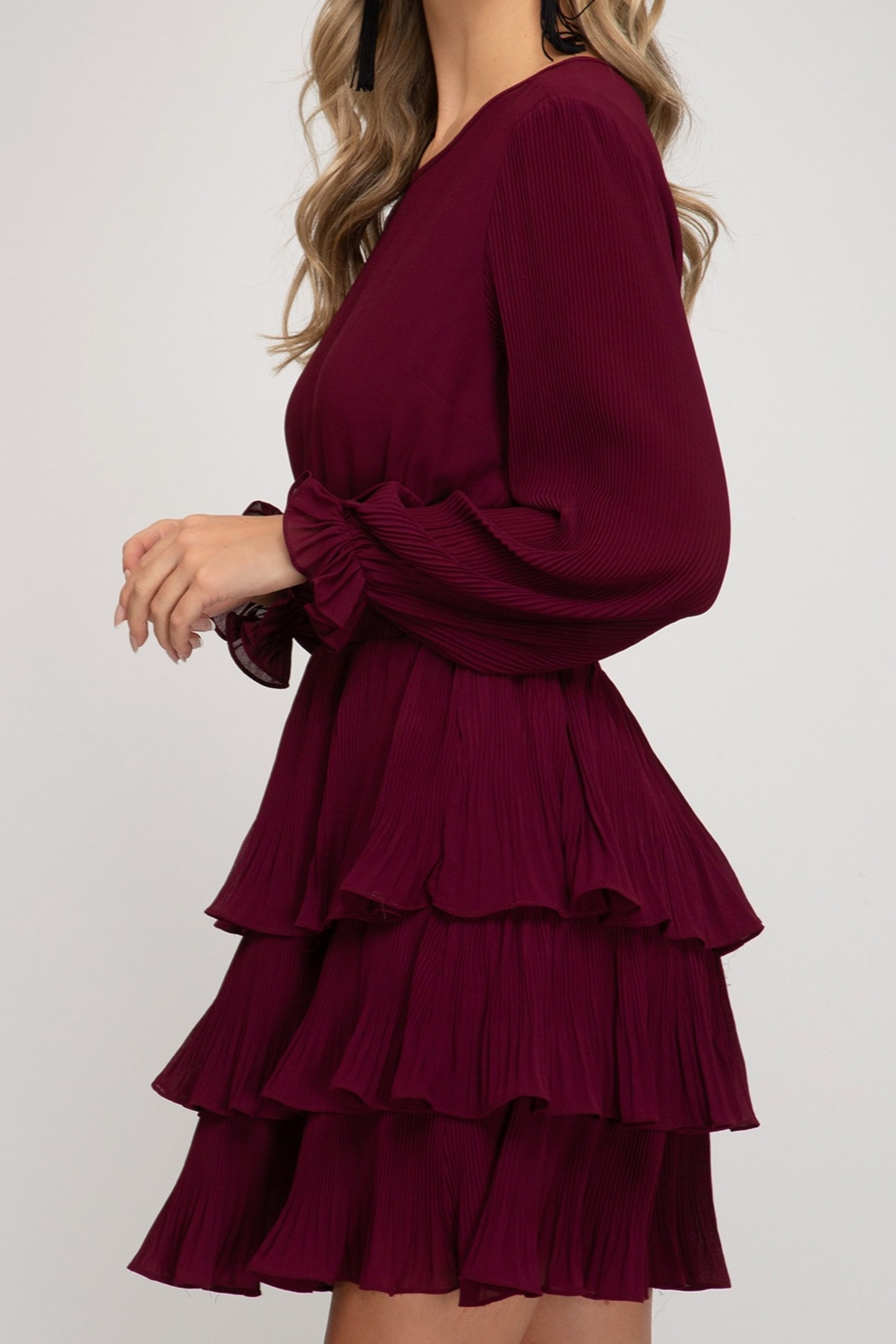 She and Sky Pleated Layer Dress - Side Cropped Image