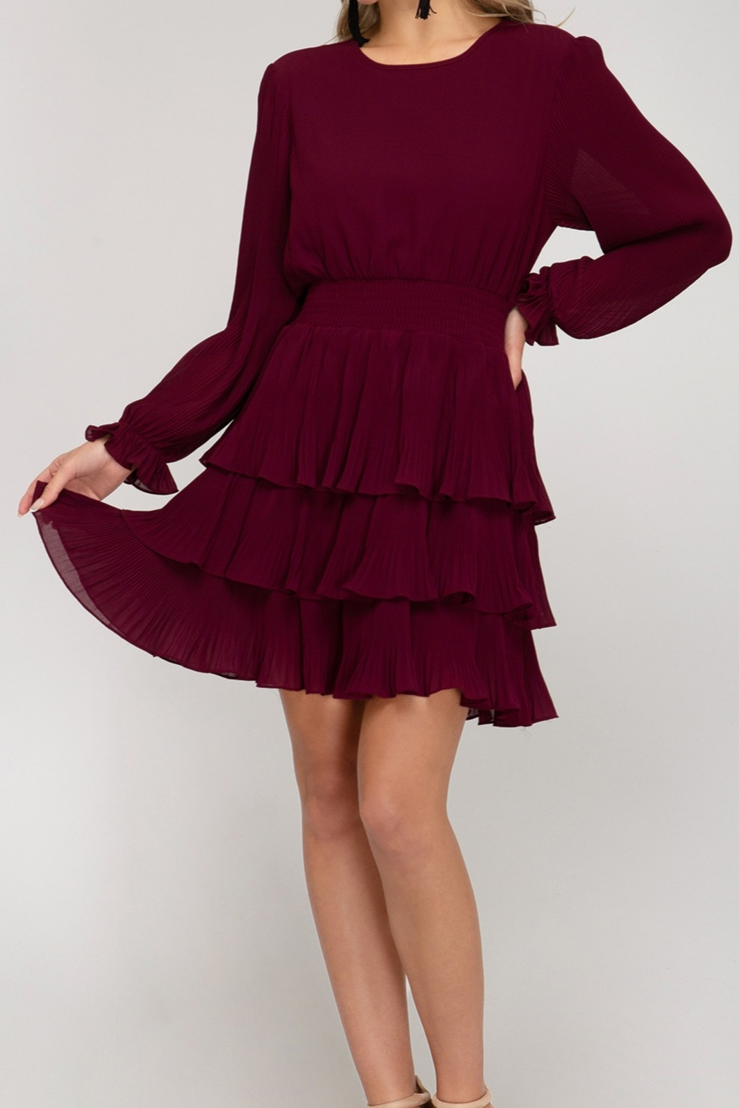 She and Sky Pleated Layer Dress - Main Image