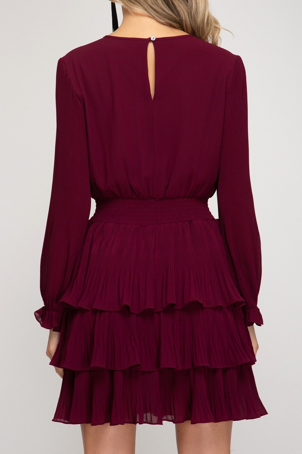 She and Sky Pleated Layer Dress - Front Full Image