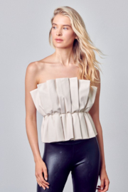 Do + Be  Pleated Leather Crop Top - Product Mini Image