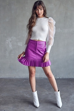 Idem Ditto  Pleated Leather Skirt - Product List Image