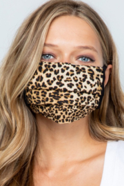 Pink 4 You Pleated Leopard Print Mask - Product Mini Image