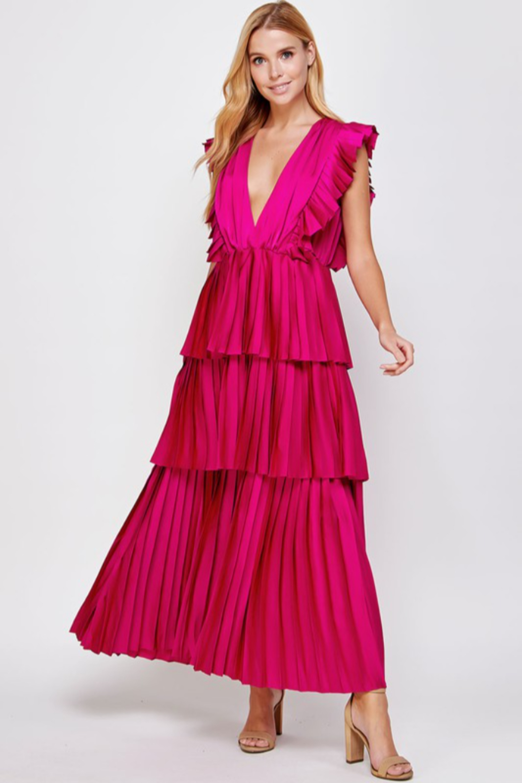 Strut & Bolt Pleated Maxi Dress - Front Cropped Image