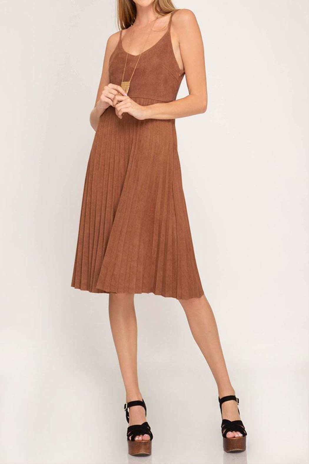 She + Sky Pleated Midi Dress - Front Cropped Image